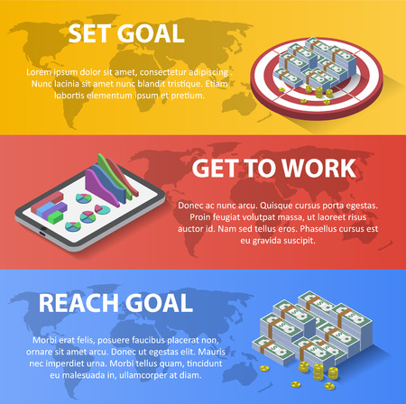 set goal: Brochure Flyer graphic design Layout vector template. Set goal, get to work, reach goal. Isometric style illustration