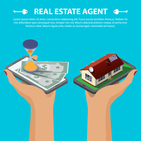 Flat 3d isometric creative mobile real estate sale web infographics concept. Two hands with smartphone on micro house street block and with hourglass and money. Isometric illustration 일러스트