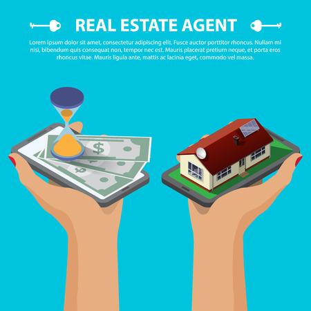 Wohnung isometrische 3D kreative mobilen Immobilien verkaufen web Infografiken Konzept. Zwei Hände mit Smartphone auf Mikrohaus Straßenblock und mit Sanduhr und Geld. Isometrische Darstellung Standard-Bild - 47920099