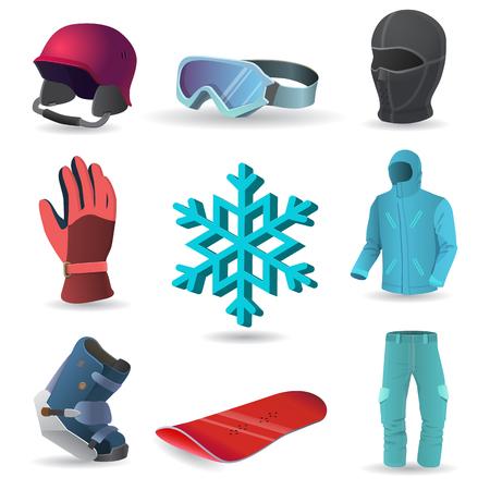 balaclava: Snowboard equipment  icons. Helmet, gloves, boots, snowboards, goggles, balaclava, jacket, trousers, snowflake Illustration