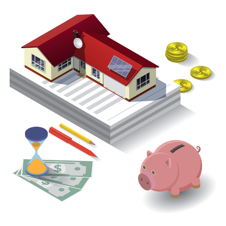 building lot: Real estate costs expenses value rent price concept flat 3d web isometric infographic illustration. House on paper, hourglass, pen, pencil, money, piggy bank. Illustration