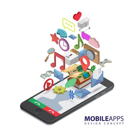 smartphone icon: Mobile smartphone services and applications. Music, games, calendar, clock, wi-fi, map, gps, message, cloud, money, like, bubble-box icons. Isolated isometric illustration on white background.