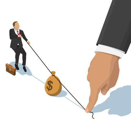 dollar bag: businessman pulling a bag with a dollar sign, the other end of the rope holding a big hand for business competition design. Isometric flat style illustration.  Isolated on  white background