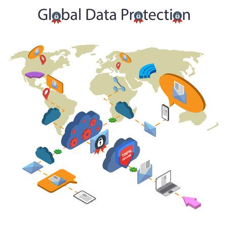 caja fuerte: Piso 3d web isométrica seguridad en línea, protección de datos y de trabajo seguro. Aislado en el fondo blanco