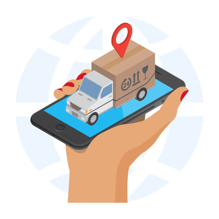 storage facility: Flat style isometric illustration delivery service concept. Abstract truck with box container and map label icon on the smartphone. Isolated on  white background Illustration