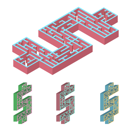 hopeless: Isometric illustration of maze.3D dollar labyrinth flat style different color and orientation. Isolated on  white background Illustration