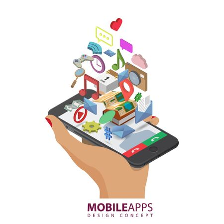 application software: Mobile smartphone services and applications. Music, games, calendar, clock, wi-fi, map, gps, message, cloud, money, like, bubble-box icons. Isolated isometric illustration on white background.