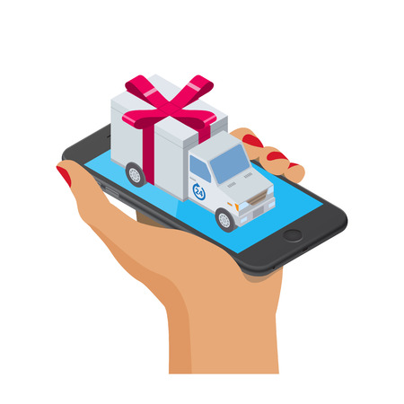 transportation facilities: Flat style isometric illustration delivery service concept. Abstract truck with gift box container on the smartphone. Isolated on  white background