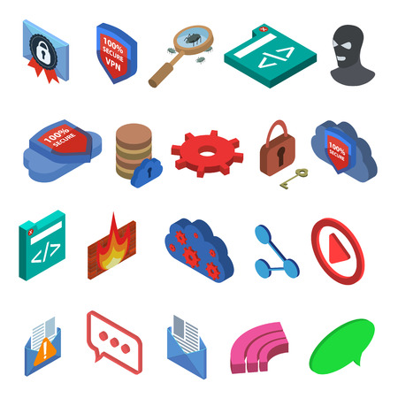 hacker: Flat style isometric IT icons set. Secure connection, virus, encrypted connection, channel, anti-virus, XSS, hacker, LAN, database, password, cloud storage, firewall. Isolated on  white background
