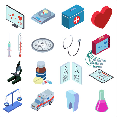 bacteria in heart: Isometric style illustration icons set of medical inspection. Red heart, medical scales, thermometer, syringe, bacteria, microscope, packaging tablets, tooth, tube, medical kit, heart monitor