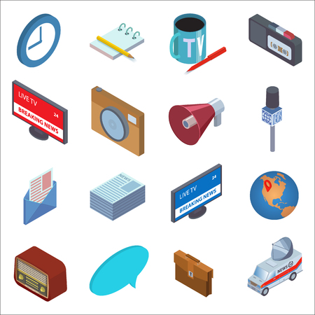 tv camera: Flat style isometric news icons set. Clock, notepad, coffee mug, voice recorder, TV, camera, microphone, speaker, letter, newspaper, globe, radio, briefcase, car news. Isolated on  white background