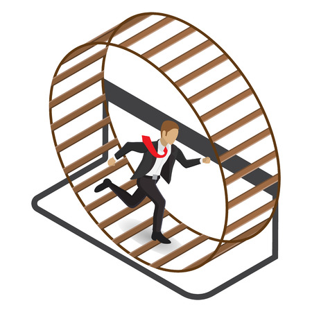 rat race: Isometric illustration of a stressed businessman in a suit running in a hamster wheel. Isolated on white background