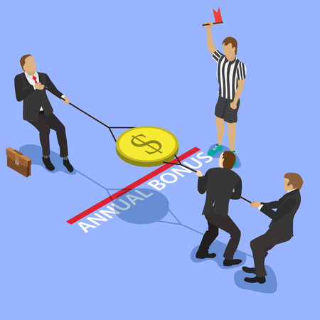 budget crisis: A group of businessmen fighting over money, pulling the gold coin with a dollar sign to opposite sides and judge with a red flag for business competition design. Isometric flat style illustration.