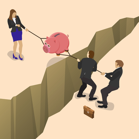 wage: Businessman and business woman fights over for money, pulling the piggy bank with money to opposite sides over a precipice for business competition design. Isometric flat style illustration.