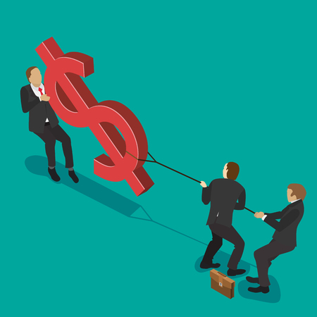budget crisis: A group of businessmen fighting over money, pulling the dollar sign to opposite sides, for business competition design. Isometric flat style illustration.