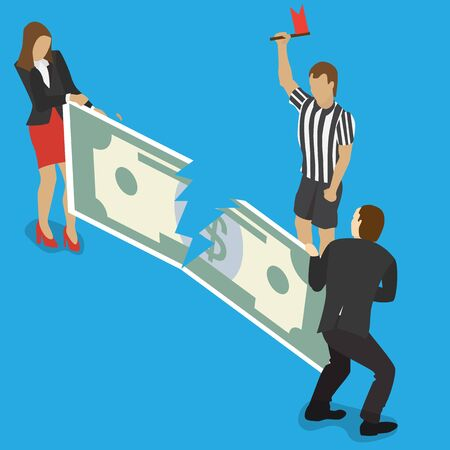 pulling money: Businessman and business woman fights over for money, pulling the dollar bill to opposite sides and judge with a flag for business competition design. Isometric flat style illustration.