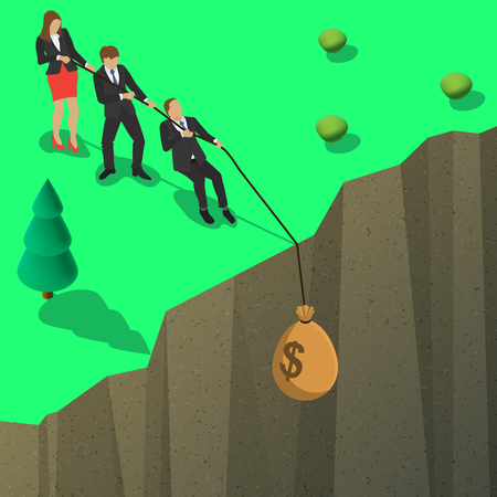 business competition: A group of businessmen pulling a bag of money with dollar sign of the deep abyss for business competition design. Isometric flat style illustration.