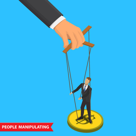 manipulate: Businessman puppet on ropes. Business manipulate behind the scene concept. Businessman marionette on ropes controlled big hand. People manipulating concept isometric illustration