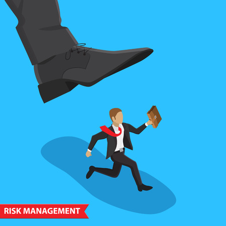 big foot: Businessman escapes from the big foot. Business Concept risk management isometric illustration style. Isolated on blue background Illustration