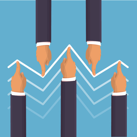 Market manipulation concept in flat style - Businessman hands pushing the prices up and down. Helping the economy concept. Hands pushing the business graph up. Flat style isometric illustration 일러스트