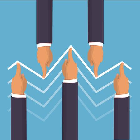 Marktmanipulation Konzept in flachen Stil - Unternehmer Hände, um die Preise nach oben und nach unten drücken. Hilfe für die Wirtschaft Konzept. Hände, welche die Unternehmen drängen grafisch darstellen. Wohnung Stil isometrische Darstellung Standard-Bild - 50903268