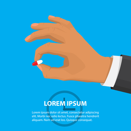 dose: Hand holding a pill. Person puts tablet in mouth. Painkiller and hand, dose and pain, vitamin and illness flat style illustration Illustration