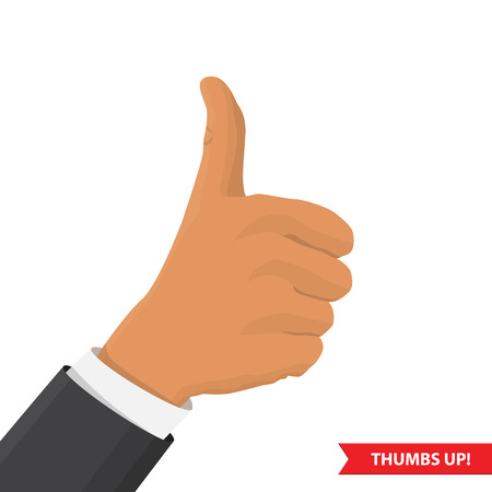hand showing thumbs up: Closeup of male hand showing thumbs up sign against. Isolated on  white background