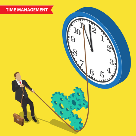 money time: Time is money. Time management abstract illustration, isometric style. Time management business concept. Businessman pulls down the clock