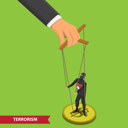 manipulate: Terrorist puppet on ropes. Business manipulate behind the scene concept. Terrorist marionette on ropes controlled big hand. People manipulating concept isometric illustration