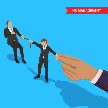 Concept of human resources management, professional staff research, head hunter job. Businessman and big hand pulling the other businessman in different directions. For business competition design. Illustration