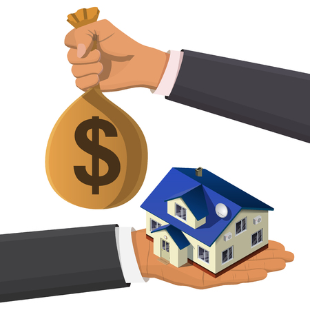 second hand: One hand holds a house, second hand buys his money bag. Flat 3d isometric creative  real estate sale web infographics concept. Home loan. Isometric illustration