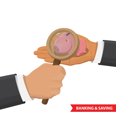 capitalization: Hand holding a magnifying glass and is looking at a piggy bank. Flat 3d isometric investment, banking, capitalization, money savings, finance web infographic concept.