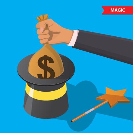 magia: Mano saca una bolsa de dinero de un sombrero mágico. El éxito, la riqueza, truco, mentira, el engaño, el fraude, el engaño, la magia, el concepto de dinero rápido, varita mágica. Vectores