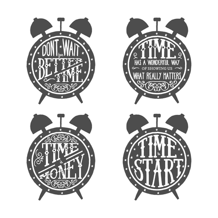 Time quotes lettering set, typographic Art for Poster Print Greeting Card T shirt apparel design, hand crafted vector illustration. Made in vintage retro style.