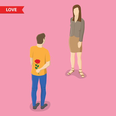 woman standing back: Man holding flowers behind his back and standing in front of woman. Valentines day, love, relationship, friendship isometric illustration concept Illustration