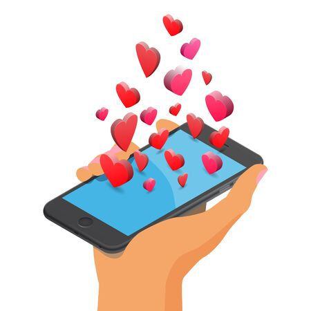 dating icons: Mobile smartphone with heart icons. Like, valentines day, online dating, love, relationship, friendship. Isolated isometric illustration on white background.