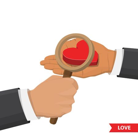 looks: Hand with magnifying glass looks at heart. Valentines day, love, relationship, friendship isometric illustration concept