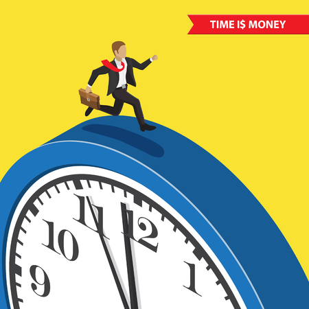 Time management business concept. Businessman with briefcase running on the blue clock