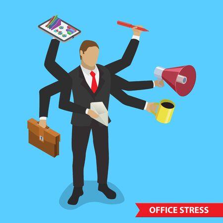 Office job stress work isometric illustration. Stress on work.