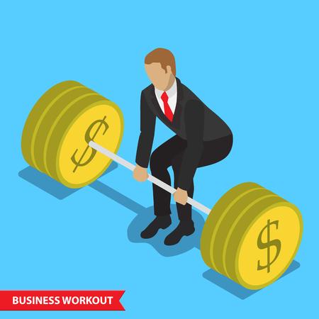 health symbols metaphors: Business workout deadlift isometric style illustration strong finance position concept. Illustration