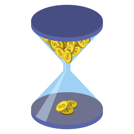 work task: Time management business concept. Blue hourglass with yellow coin with a dollar sign isolated on  white background