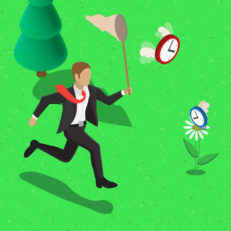 butterfly net: Time management business concept. Businessman with a butterfly net running for clock with wings Illustration