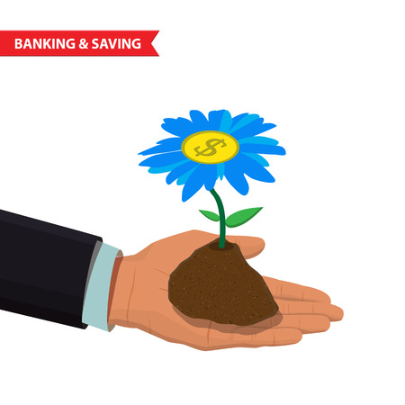 hand holding flower: Mans hand holding a cash flower. Business investment growth concept, startup, business and creativity illustration Illustration