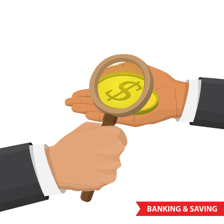 exaggerate: Hand holding a magnifying glass and look at the gold coin. Graphic Design for Business Growth and Start up concept. success concept. Search of money, finance, of profit, analysis concept.