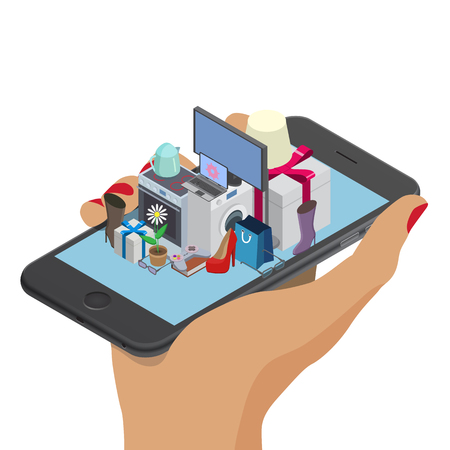 Woman hand with mobile phone. Smartphone with different household. Online shopping isometric design. Order, checkout, payment, delivery, shipping worlwide, web, 3d isometric illustration