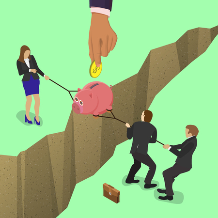 pulling money: Businessman and business woman fights over for money, pulling the piggy bank with money to opposite sides over a precipice, big hand puts a coin in a piggy bank. For business competition design. Illustration