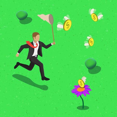 business flying: Businessman running after flying dollars with scoop-net. Isometric money catching business concept web infographics  illustration.