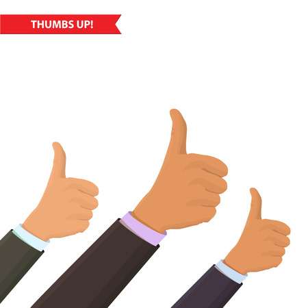 thumbsup: Closeup of male hand showing thumbs up sign against. Isolated on white background, success, approval, greeting illustration concept