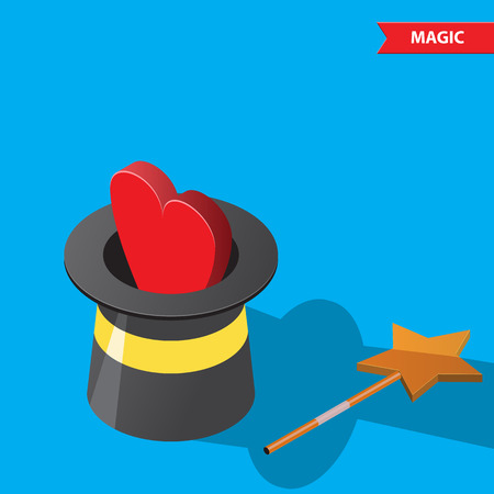 hat trick: Red heart comes out of a magic hat. Trick, lie, deception, fraud, cheating, magic,valentines day, love, relationship, friendship, magic wand.
