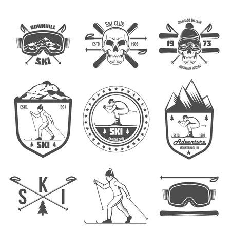 Vintage ski and arctic expeditions , badges, emblems and design elements. Winter sports.  skier in the mountains. Retro  design. Old school sport . Monochrome badges. Illusztráció